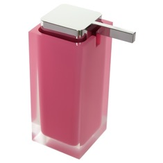 Square Pink Countertop Soap Dispenser