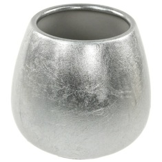 Round Silver Finish Toothbrush Holder in Pottery