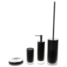 4 Piece Black Satin Glass Bathroom Accessory Set