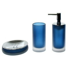 3 Piece Blue Satin Glass Bathroom Accessory Set