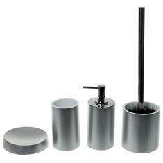 4 Piece Silver Finish Accessory Set, Free Stand