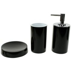 Black Bathroom Accessory Set with Tall Soap Dispenser