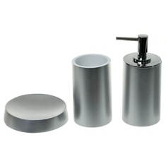 Silver Finish Bathroom Accessory Set With Tall Soap Dispenser
