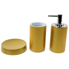 Bathroom Accessory Set with 3 Pieces in Gold Finish, Free Stand