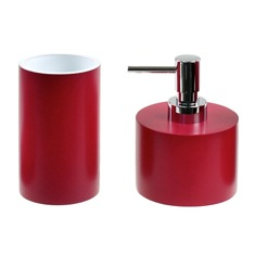 Bathroom Accessory Set With 2 Pieces In Ruby Red