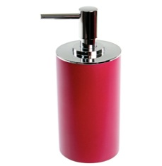 Round Ruby Red Free Standing Soap Dispenser in Resin