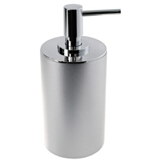 Free Standing Silver Finish Round Soap Dispenser in Resin