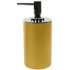 Gold Finish Round Free Standing Soap Dispenser in Resin