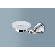 Frosted Glass Soap Dish with Polished Chrome Wall Mount