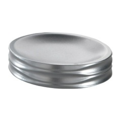 Round Thermoplastic Resin Soap Dish in Silver Finish