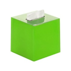 Thermoplastic Resin Square Tissue Box Cover in Green Finish