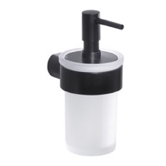 Wall Mount Frosted Glass Soap Dispenser With Matte Black Mount