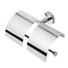 Chrome Double Toilet Roll Holder with Cover