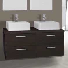 45 Inch Wenge Double Vessel Sink Bathroom Vanity, Wall Mounted