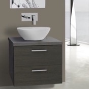 22 Inch Grey Oak Vessel Sink Bathroom Vanity, Wall Mounted