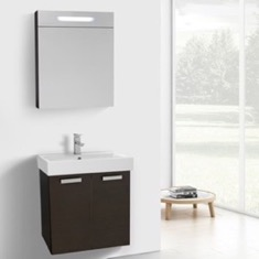 24 Inch Wenge Wall Mount Bathroom Vanity with Fitted Ceramic Sink, Lighted Medicine Cabinet Included