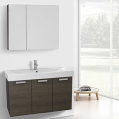 39 Inch Grey Oak Bathroom Vanity Set
