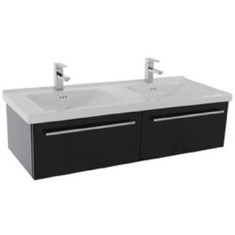 Iotti FN26 48 Inch Glossy Black Wall Double Bathroom Vanity Set, 2 Drawers