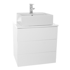 Iotti TN09 24 Inch Glossy White Vessel Sink Bathroom Vanity, Wall Mounted TN09