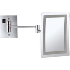 Wall Mounted Square LED 3x Makeup Mirror, Hardwired