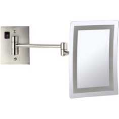 Satin Nickel Wall Mounted Square LED 3x Makeup Mirror, Hardwired