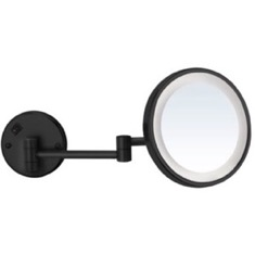Matte Black Wall Mounted 7x Magnifying Mirror with LED, Hardwired