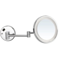 Round Wall Mounted Magnifying Mirror with LED, Hardwired