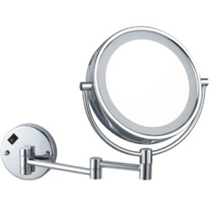 Double Face Round LED 5x Magnifying Mirror, Hardwired