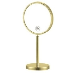 Gold Finish Double Sided Free Standing 3x Makeup Mirror