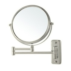 Satin Nickel Wall Mounted Double Sided 3x Shaving Mirror