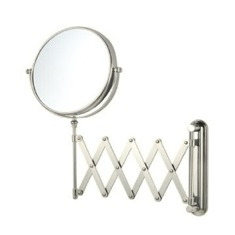 Satin Nickel Double Sided Adjustable Arm 3x Shaving Mirror