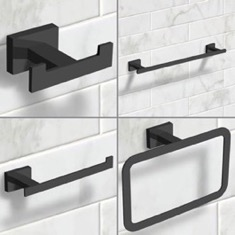 Wall Mounted 4 Piece Matte Black Hardware Set