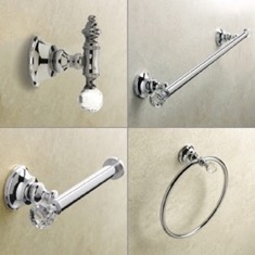 Wall Mounted 4 Piece Chrome Hardware Set with Crystals