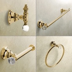Wall Mounted 4 Piece Gold Finish Hardware Set with Crystals