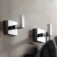 Pair of Modern Square Chrome Wall Mounted Bathroom Hooks
