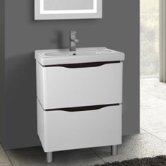 24 Inch Floor Standing White Vanity Cabinet With Fitted Sink