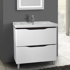 32 Inch Floor Standing White Vanity Cabinet With Fitted Sink