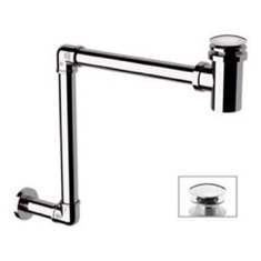 Chrome Wall Mounted P-Trap With Click Clack Drain