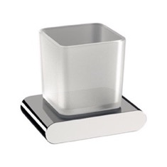 Wall Mounted Frosted Glass and Brass Toothbrush Holder
