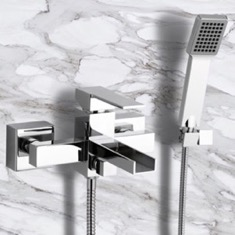 Single Lever External Bath Shower Mixer with Waterfall Spout and Hand Shower