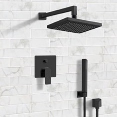 Matte Black Shower System with 8