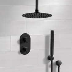 Matte Black Thermostatic Ceiling Shower System with Rain Shower Head and Hand Shower