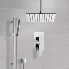 Chrome Ceiling Shower System With Rain Shower Head and Hand Shower