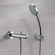 Chrome Wall Mounted Tub Spout Set with Hand Shower