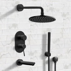 Matte Black Tub and Shower System with 8
