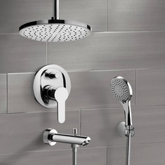 Chrome Tub and Shower Set with Rain Ceiling Shower Head and Hand Shower