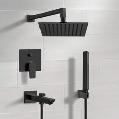 Matte Black Tub and Shower Set with Rain Shower Head and Hand Shower
