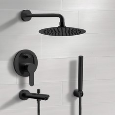 Matte Black Tub and Shower System With Rain Shower Head and Hand Shower