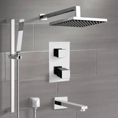 Chrome Thermostatic Tub and Shower System with Rain Shower Head and Hand Shower