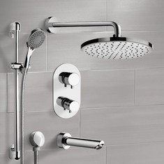 Chrome Thermostatic Tub and Shower Set with Rain Shower Head and Hand Shower
